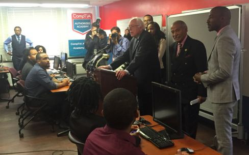 Senator Bernie Sanders speaking to students attending the H.O.P.E. Project in southeast Washington.