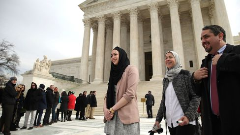 Samantha Elauf (center), her mother, Majda Elauf, and Equal Employment Opportunity Commission General Counsel David Lopez leave the U.S. Supreme Court after the court heard oral arguments in EEOC v. Abercrombie & Fitch on Feb. 25, 2015, in Washington.