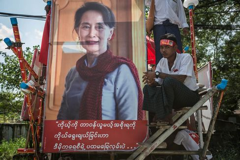 Myanmar opposition leader Aung San Suu Kyi hold a rally