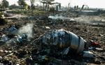 Aircraft parts from the wreckage of a Boeing Co. 737-800 aircraft, operated by Ukraine International Airlines, which crashed shortly after takeoff lie on the ground near Shahedshahr, Iran, on Jan. 8, 2020.