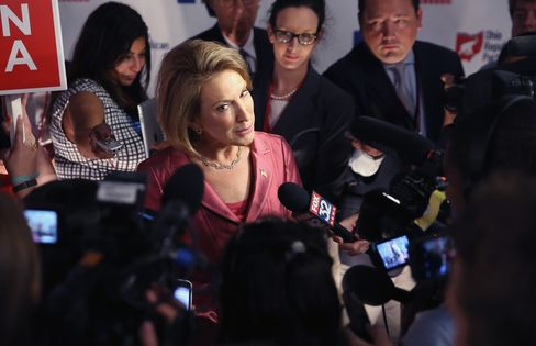 Carly Fiorina talking to reporters after the undercard debate.