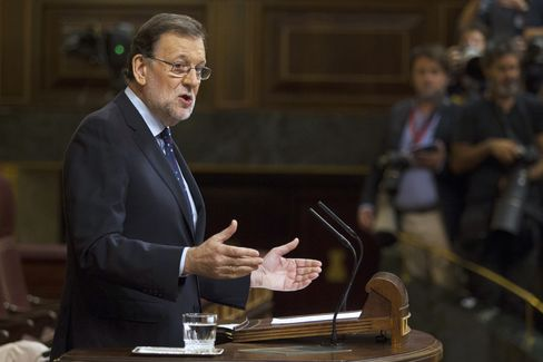 Mariano Rajoy speaks at the parliament in Madrid on Sept. 2.