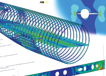 Air Travel: Cylindrical lines model the pressure on an airplane's fuselage