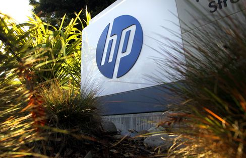 A sign stands outside the Hewlett- Packard Co. headquarters in Palo Alto, California, U.S.