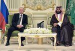 Russian President Vladimir Putin (L) meets with Saudi Arabia's Crown Prince Mohammed bin Salman in Riyadh, Saudi Arabia, on October 14, 2019. (Photo by Alexey NIKOLSKY / SPUTNIK / AFP) (Photo by ALEXEY NIKOLSKY/SPUTNIK/AFP via Getty Images)