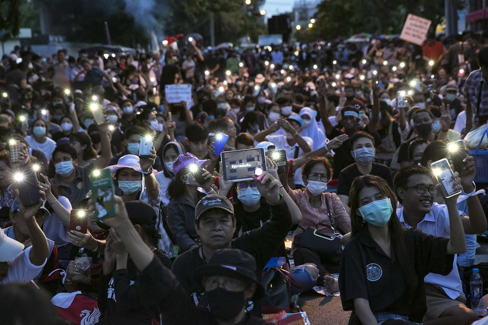Thai protesters attend a rally outside of the Thai Parliament on Sept. 24.