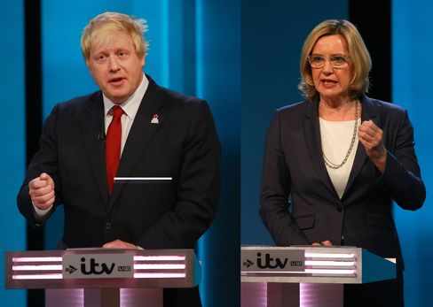 Boris Johnson and Amber Rudd during The ITV Referendum Debate