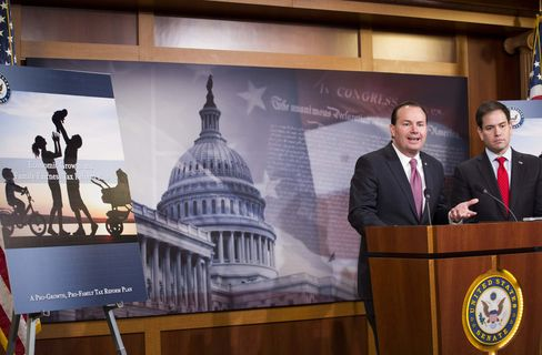 Senators Mike Lee and Marco Rubio speak during a news conference to introduce their proposal for an overhaul of the tax code.