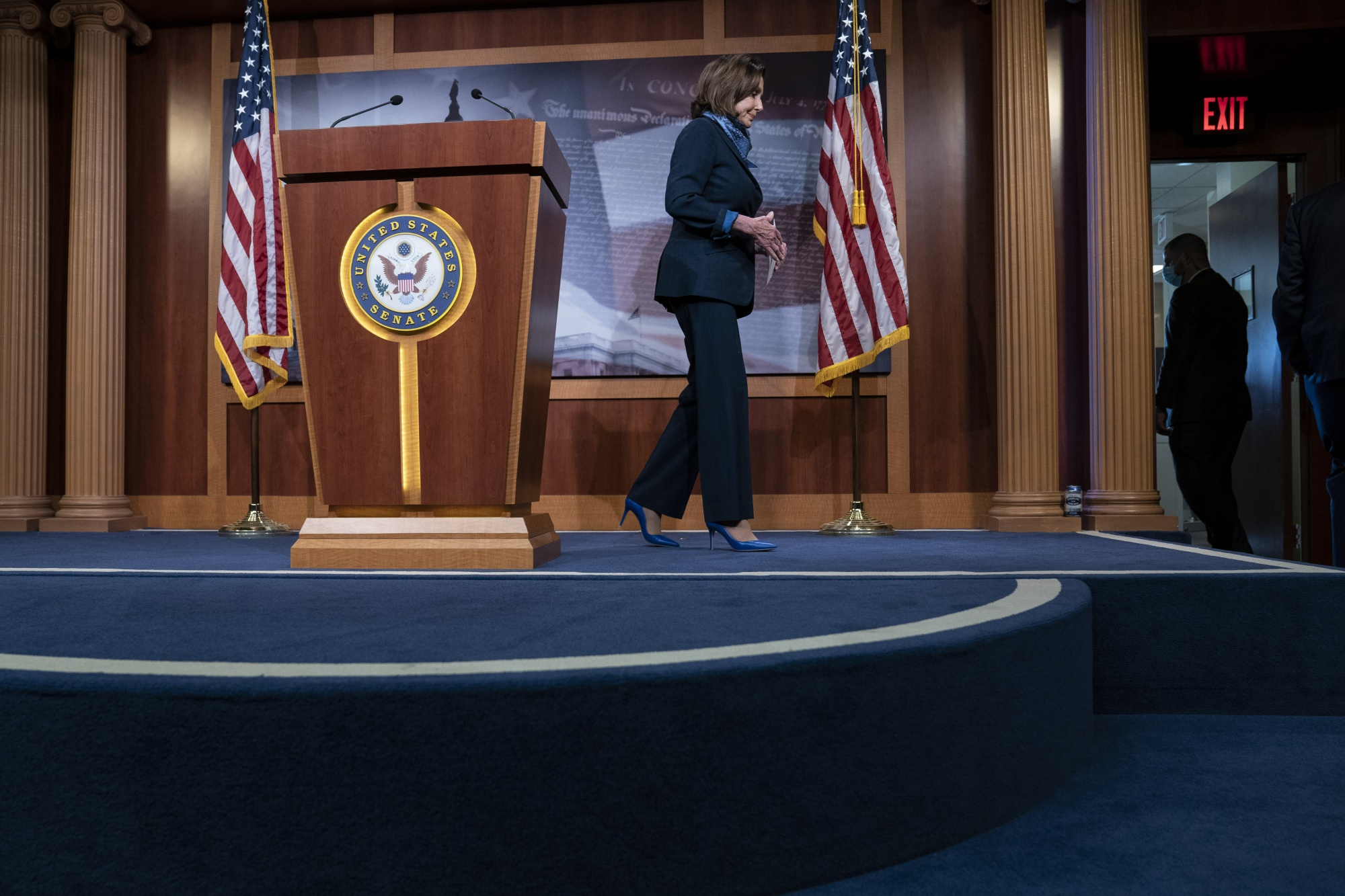 U.S. House Speaker Nancy Pelosi departs from a news conference on Capitol Hill on April 21, 2020.