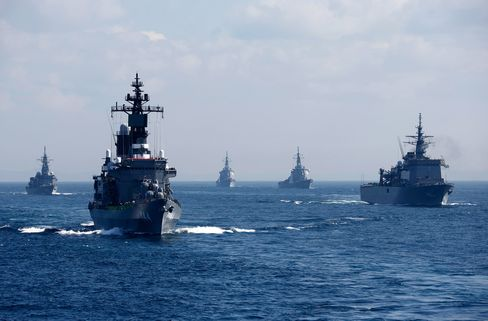 Japan Maritime Self-Defense Force Holds Review Of Troops