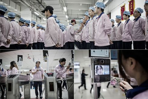 Top: The morning roll call at Pegatron. Bottom: Workers use identity checkpoints to enter the assembly line area.