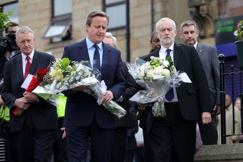 Cameron and Corbyn in Birstall.