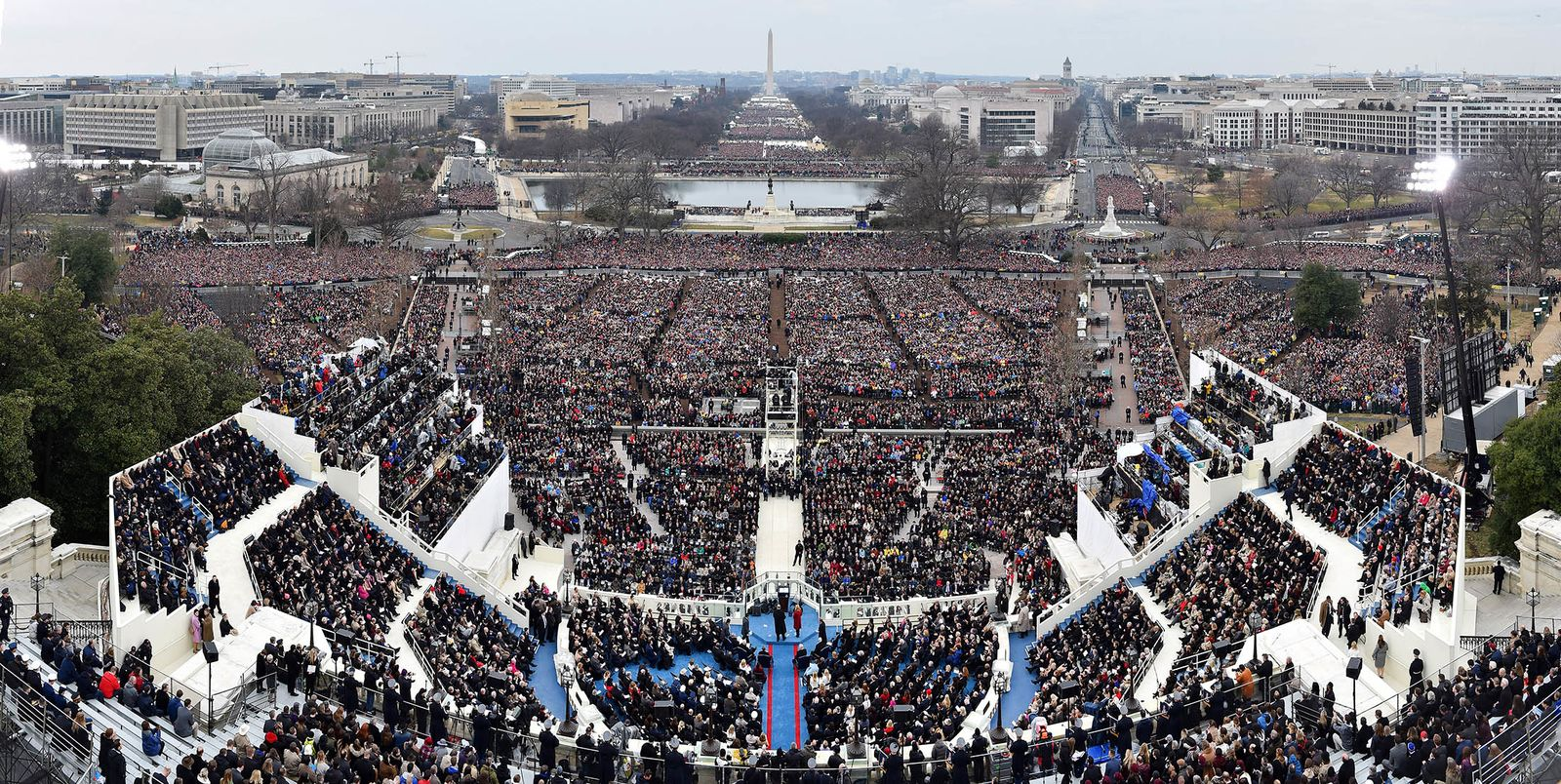 A panoramic view of the 58th presidential inauguration in Washington, D.C., U.S., on Friday, Jan. 20, 2017. Donald Trump became the 45th president of the United States today, in a celebration of American unity for a country that is anything but unified. Photographer: Ricky Carioti/Pool via Bloomberg