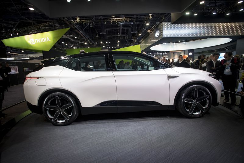 The Byton electric concept vehicle at CES on Jan. 10. Photographer: David Paul Morris/Bloomberg