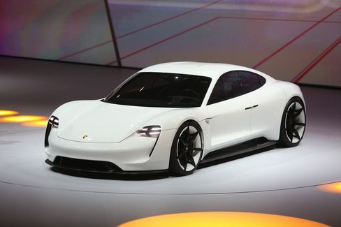 A Porsche Mission E electric automobile, produced by Volkswagen AG (VW), is presented during a VW event ahead of the IAA Frankfurt Motor Show in Frankfurt