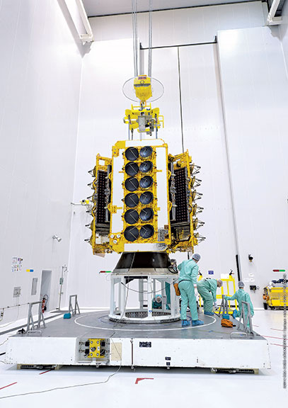 A payload of four O3b satellites getting prepped for launch.