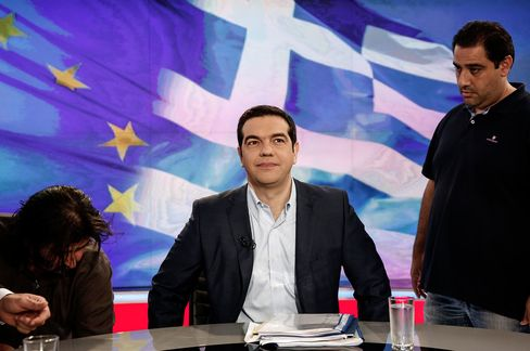 Greek Prime Minister Alexis Tsipras waits for a televised interview to start inside a studio of state broadcaster ERT in Athens on June 29.