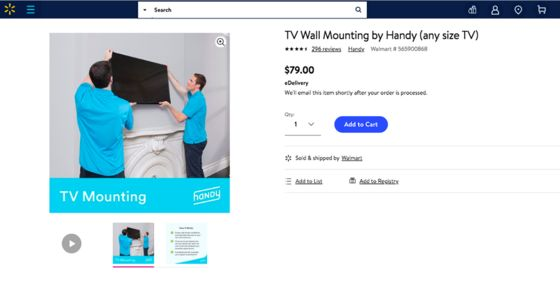 Walmart's Online Shoppers Won't Have to Hang Their Own TVs Anymore