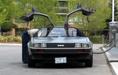 DeLorean owned by Moses Znaimer seen being vacuumed at the PetroCan Station on the South Kingsway.