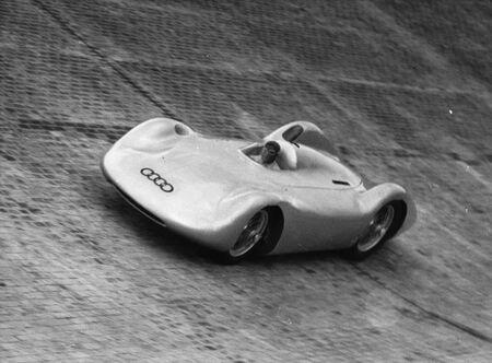 Driver Bernd Rosemeyer tests a car at the AVUS track in Berlin in 1937.
