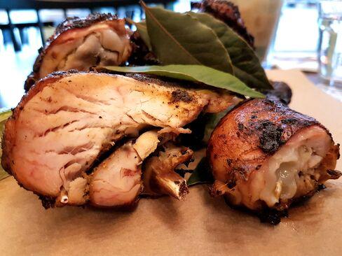 Jerk Chicken is served at Rudie's.