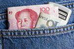 Yuan Bills & Mobile Phone In Back Pocket