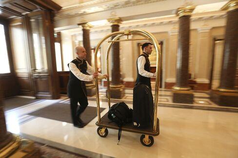 Doormen Work in a Hotel in Saint Petersburg