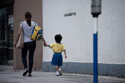 A childon theway to school in Hong Kong.