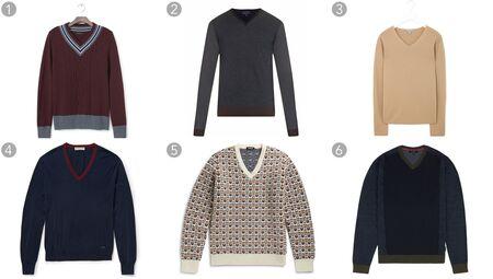 (1) Cricket vee pullover, Banana Republic, $98.50, bananarepublic.com; (2) Color-block wool-knit sweater, Lanvin, $595, matchesfashion.com; (3) Clean V-neck sweater, COS, $105, cosstores.com; (4) Silk and cotton blend sweater, Burberry London $650, mrporter.com; (5) Wool jacquard sweater, Raff Simons, $745, mrporter.com; (6) Color-block V-neck sweater, Ted Baker, $165, tedbaker.com.