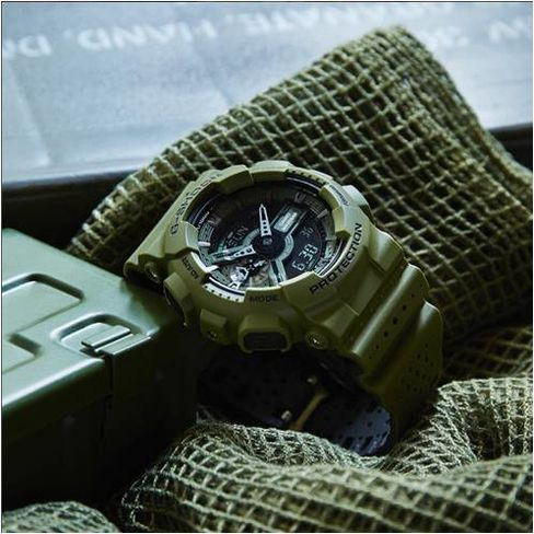 G-Shock's Men's Military Color Perforated Two-Tone Band (GA110LP-3A), $140.