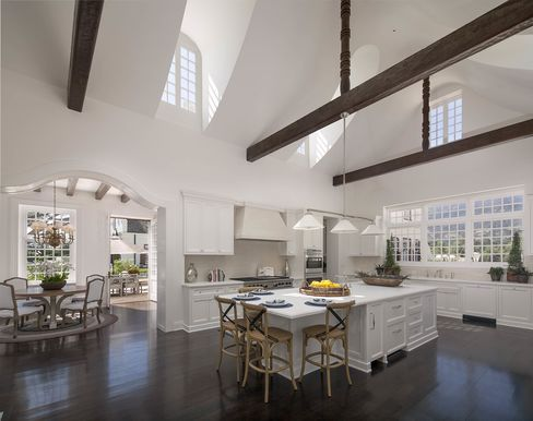 The double-height kitchen.