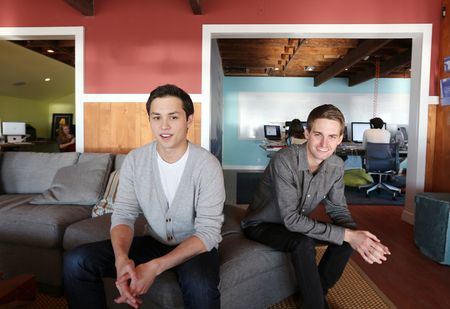 Bobby Murphy, left, and Evan Spiegel, the co-founders of the Snapchat app, at the company's offices in Venice Beach, Calif., Jan. 31, 2013