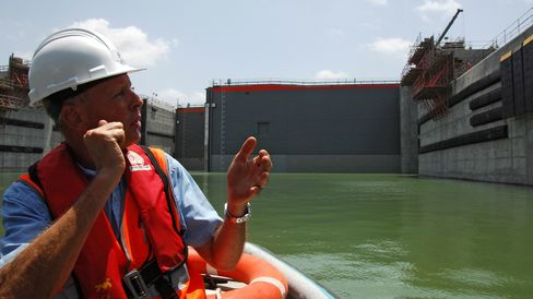 The Cocoli lockgates are tested during the Panama Canal expansion on July 3, 2015.