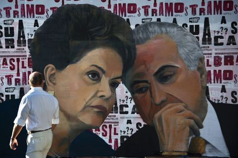 A mural of Rousseff and Temer in Sao Paulo.