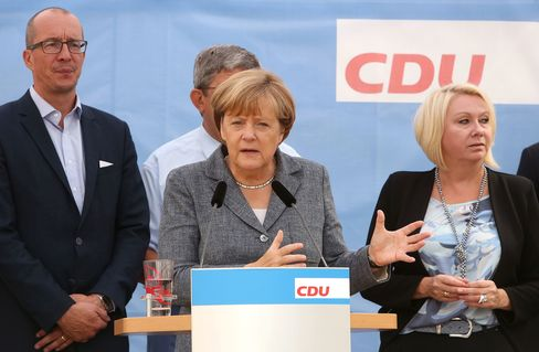 Angela Merkel campaigning in Mecklenburg-Western Pomerania on Sept. 3.