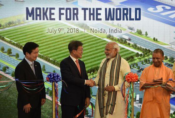 Biggest Mobile-Phone Plant Masks Modi's 'Make in India'Struggle