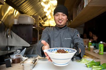 Jack Nakamura, Sun Noodle's corporate chef, is the stylish cook behind the bar.