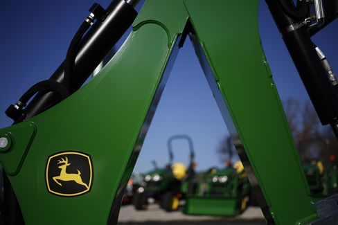 John Deere Tractors and Farm Equipment Stand in Shelbyville
