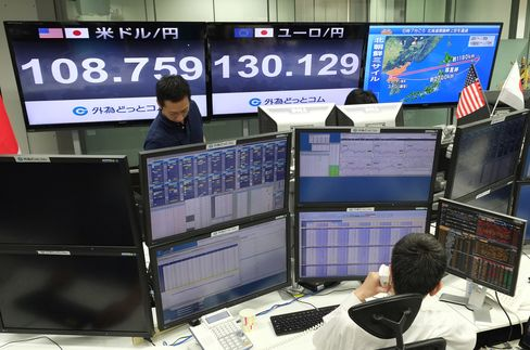 Quotation boards display the foreign exchange rate at a foreign exchange brokerage in Tokyo on August 29, 2017, after a missile was launched by North Korea earlier in the day.