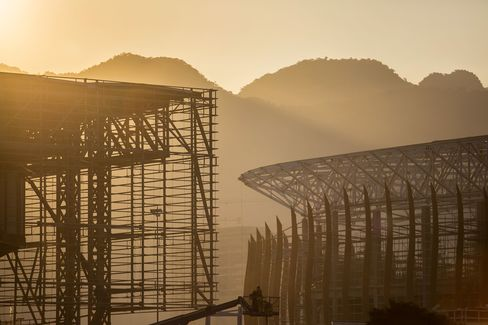 Construction of the 2016 Olympic Park continues in Rio de Janeiro, Brazil.