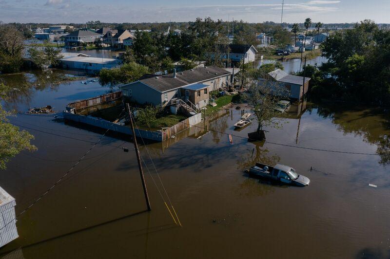 Hurricane Delta Hits Louisiana Area Slammed By Laura