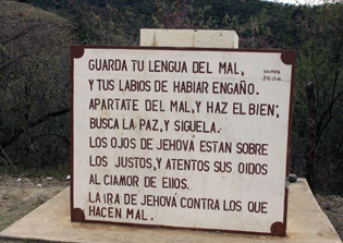 """A sign at the entrance of La Tuna warns """"Hold your tongue from evil, and your lips from speaking falsehood"""""""