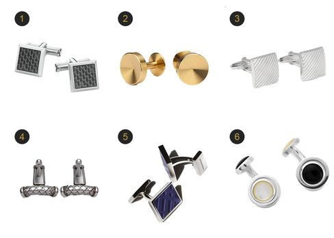(1) Signature cuff links, Montblanc, $255, montblanc.com; (2) Alexander cufflinks, Alice Made This, $135.72, alicemadethis.com; (3) Rohdium-plated cufflinks, Lanvin, $180, mrporter.com; (4) Cufflinks in intrecciato silver, Bottega Veneta, $440, bottegaveneta.com (5) Check rectangle cufflinks, Burberry, $190, burberry.com (6) Reversible cufflinks with onyx and mother of pearl, Turnbull & Asser,$325, bloomingdales.com