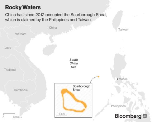 Map of China and Philippines claims to Scarborough Shoal