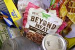 A package of Beyond Meat Inc. beef crumbles is displayed for a photograph in Tiskilwa, Illinois, U.S., on Tuesday, April 23, 2019.