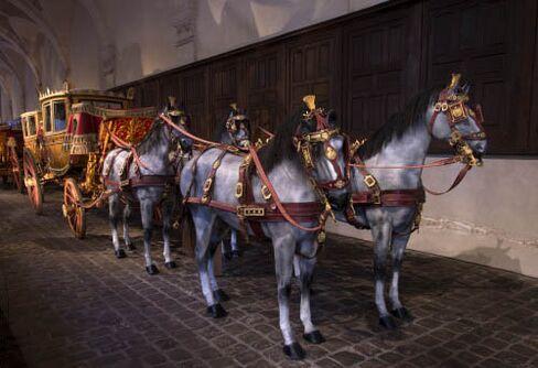 Equestrian regalia on display at La Galerie Des Carrosses.