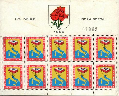 The Republic of Rose Island's leader, Giorgio Rosa, issued stamps and declared himself president.