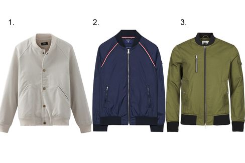(1) Seven varsity jacket, A.P.C., $425, apc.fr; (2) Bow man jacket, GANT, $295, gant.com; (3) Bomber jacket in olive, WESC, $188, wesc.com