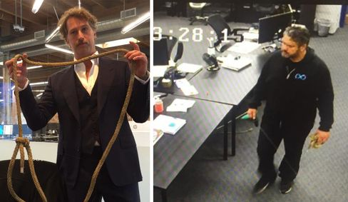 Photos from BamBrogan'slawsuit: BamBrogan, finding the rope on his chair, and security footage of Afshin Pishevar walking through the office with a rope.