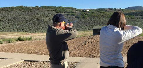 South Carolina Senator Lindsey Graham skeet-shooting in Park City, Utah on June 13, 2015